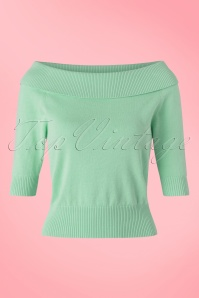 50s Bridgette Knitted Top in Antique Green