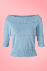 Collectif Clothing Bridgette Knitted Top in Blue 20639 20161130 0004w