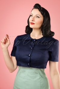 50s Ellie Cropped Jacket in Navy