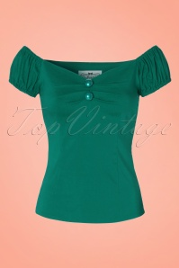 50s Dolores Top Carmen in Sea Green