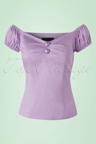 Collectif Clothing Dolores Plain Lilac Top 20635 20161201 0003w