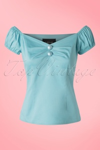 50s Dolores Top Carmen in Light Blue