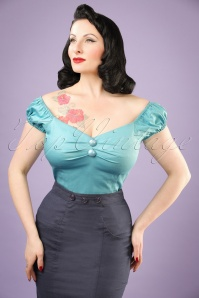 Collectif Clothing Dolores Top Plain Blue 20634 20121224 0001w