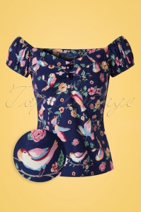 50s Dolores Charming Bird Top Carmen in Navy