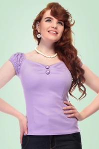 Collectif Clothing Dolores Plain Lilac Top 20635 20161201 00010