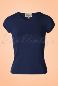 50s Alice Plain T-Shirt in Navy