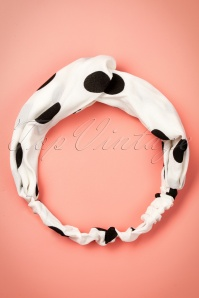 50s Calinda Twisted Polkadot Headband in White