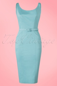 Collectif Clothing Ines Plain Pencil Dress in Blue 20818 20161129 0005w