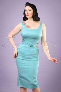 Collectif Clothing Ines Plain Pencil Dress in Blue 20818 20121224 0001w