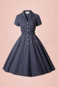 Collectif Clothing Catherina Polka Dot Shirt Swing Dress Navy Blue 14753 20141213 0018w