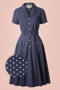 Collectif Clothing Catherina Polka Dot Shirt Swing Dress Navy Blue 14753 20141213 0012wv