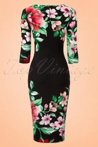 Vintage Chic 60s Aloha Tropical Garden Pencil Dress in Black 100 14 20886 20170131 0007w