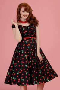 Collectif Clothing Dolores Cherry Doll Swing Dress Années 50 en Noir