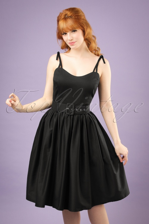 Collectif Clothing Jade Plain Swing Dress in Black 20836 20121224 0001w