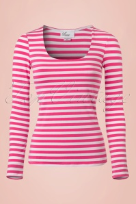 Vixen by Micheline Pitt  50s Trouble Maker Shirt Pink Stripes 113 29 20378 20170131 0002w