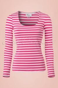 Vixen by Micheline Pitt  50s Trouble Maker Shirt Pink Stripes 113 29 20378 20170131 0002w