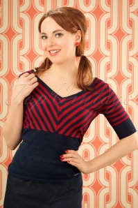 60s Annika Knit Top in Navy and Red Stripes