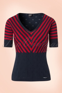 Mademoiselle Yeye Annika Top in Navy and Red 19882 20161117 0003w