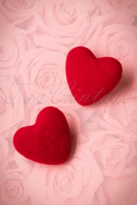 50s Velvet Heart Earrings in Red