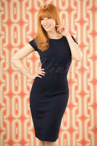 60s Linn Pencil Dress in Navy