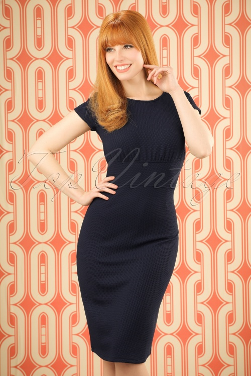 Mademoiselle Yeye 66 Linn Navy Pencil Dress 19902 20161116 0004w