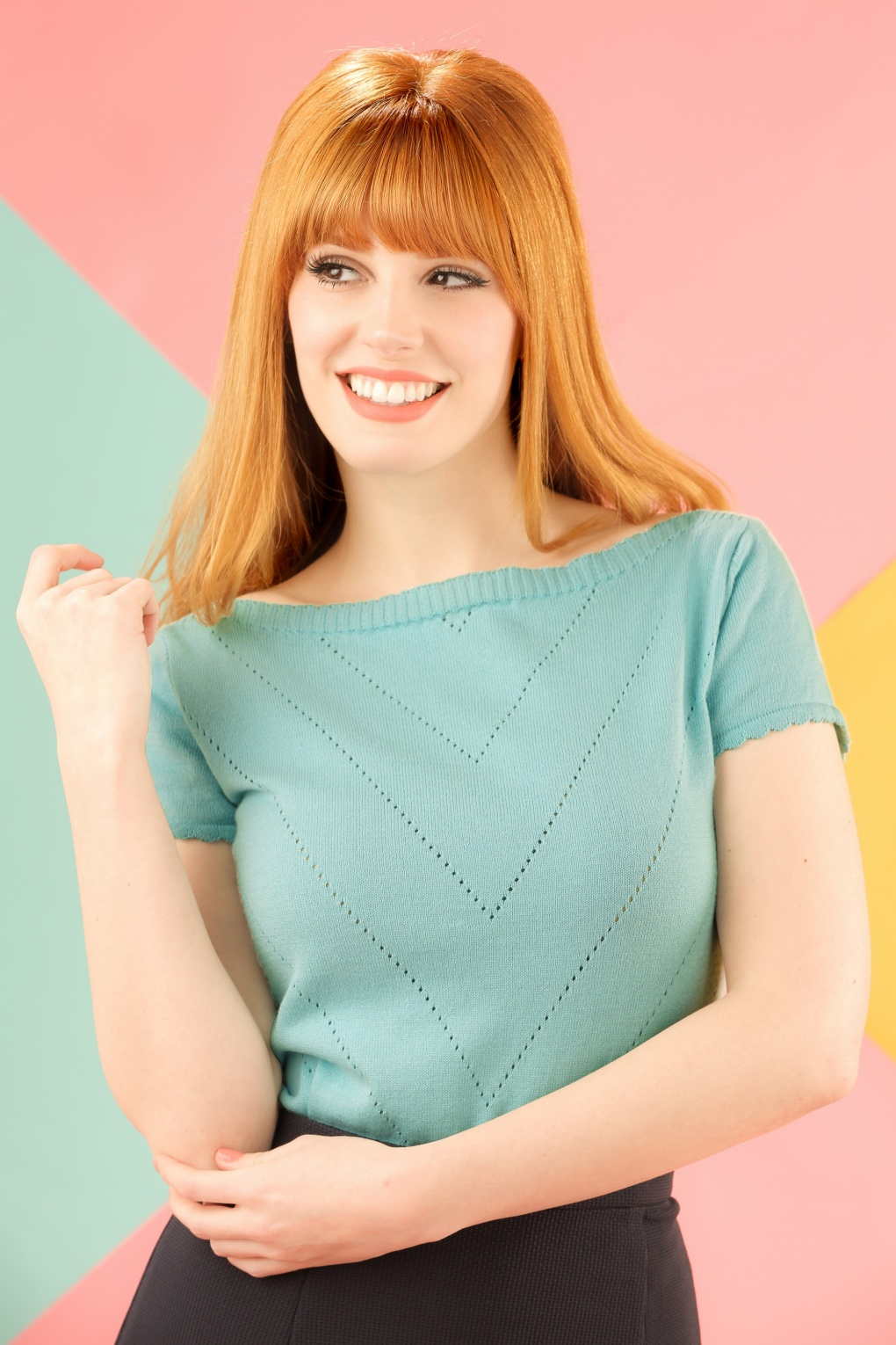 Shop 1960s Style Blouses, Shirts and Tops 60s Solene Top in Mint £50.86 AT vintagedancer.com