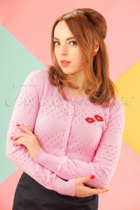 60s Lovelyn Lips Cardigan in Pink