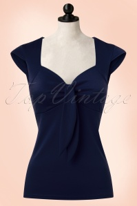 50s Solid Sweetheart Tie Top in Navy