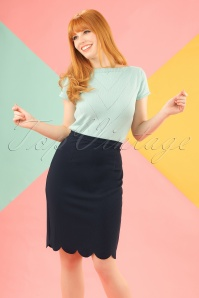 Sugarhill Boutique Neda Scallop Hem Pencil Skirt in Navy 120 31 19908 20161115 1W
