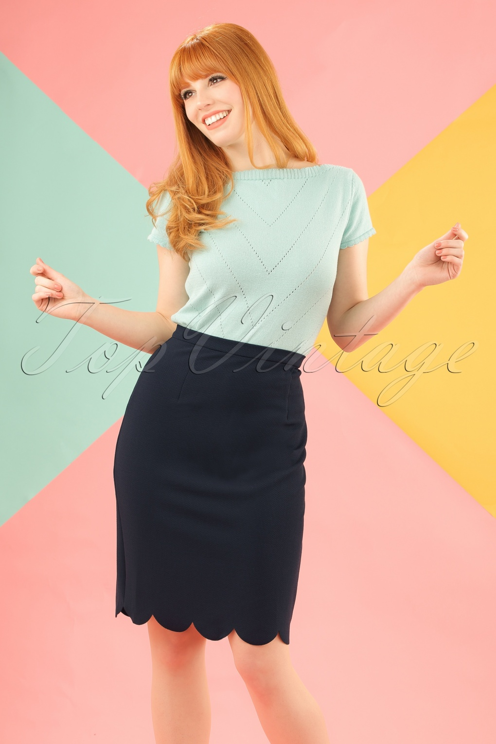 Retro Skirts: Vintage, Pencil, Circle, & Plus Sizes 60s Neda Pencil Skirt in Navy £42.42 AT vintagedancer.com