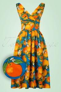 50s Laneway Swing Dress in Orange and Blue