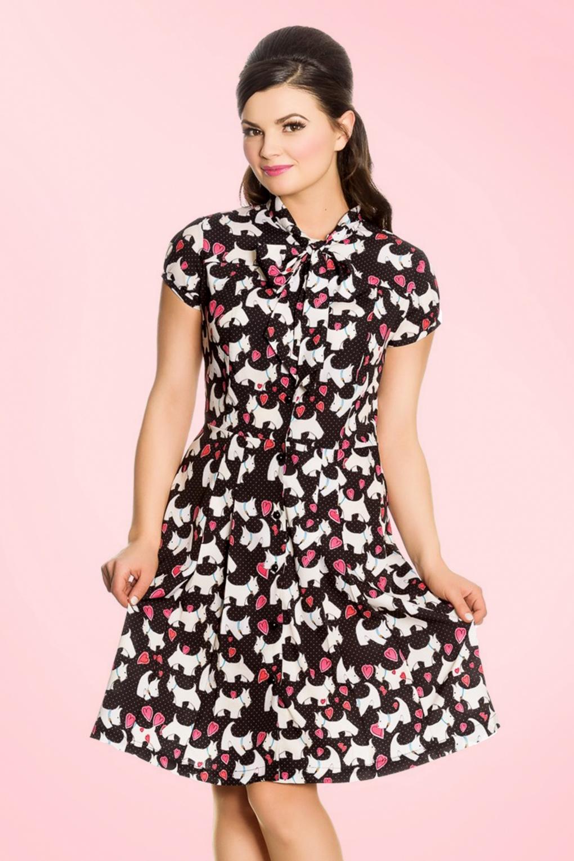 1950s Rockabilly Dresses   Rockabilly Clothing 50s Aggy Doggy Dress in Black £48.16 AT vintagedancer.com