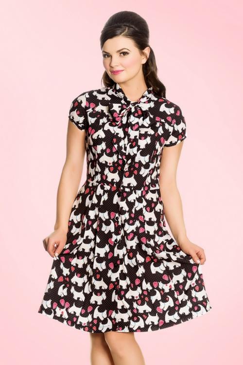 1950s Rockabilly Dresses 50s Aggy Doggy Dress in Black £47.67 AT vintagedancer.com