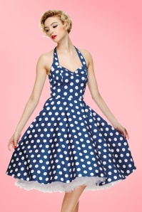 Bunny 50s Mariam Polka Swing Dress Blue 10968 13