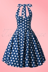50s Meriam Polkadot Swing Dress in Navy and White