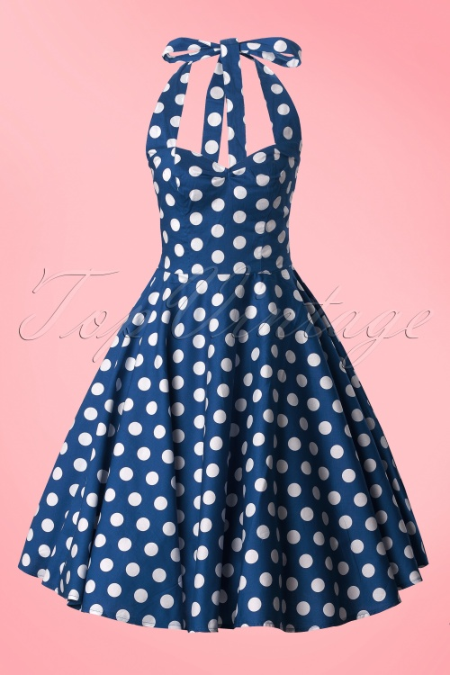 Bunny 50s Mariam Polka Swing Dress Blue 10968 3