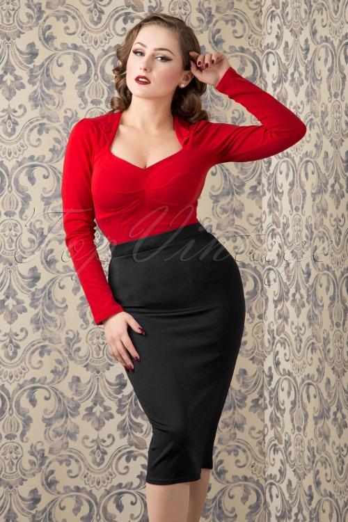Vintage Chic 50s Bella Scuba Midi Skirt in black 120 20 14917 20151016 442W