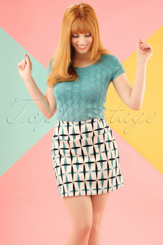 1960s Style Skirts 60s Olivia Crisp Skirt in Cream £60.09 AT vintagedancer.com