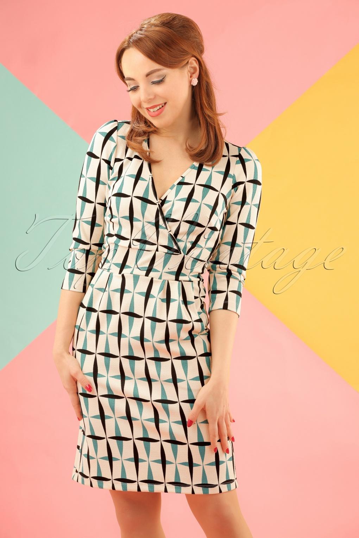 1960s Style Dresses- Retro Inspired Fashion 60s Crisp Cross Tulip Dress in Cream £70.48 AT vintagedancer.com