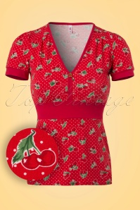 50s Village People Carries Cherries Top in Red