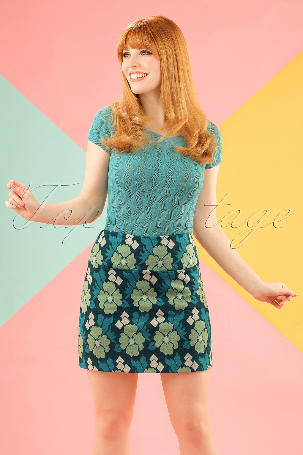 1960s Style Skirts 60s Olivia Extravaganza Skirt in Garden Green £18.47 AT vintagedancer.com