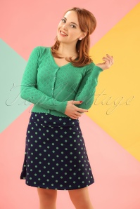 60s PartyPolka Borderskirt in Nuit Blue