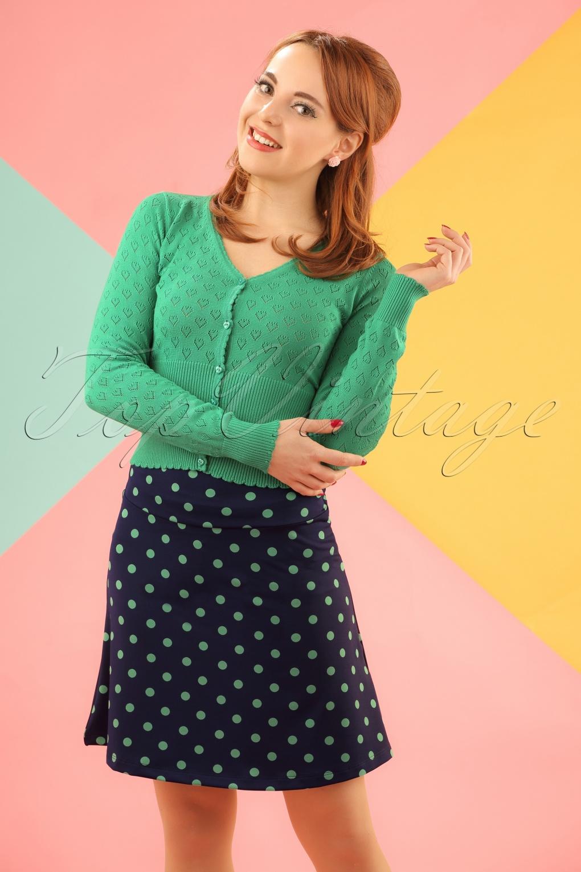 1960s Style Skirts 60s PartyPolka Borderskirt in Nuit Blue £51.50 AT vintagedancer.com