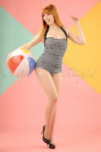 Bunny 50s Elsie Classic Black and white Gingham Swimsuit 15366 20150521 W