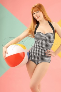 50s Elsie Gingham Swimsuit in Black and White