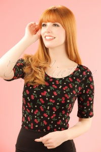 50s Temptation Cherry Ballerina Top in Black