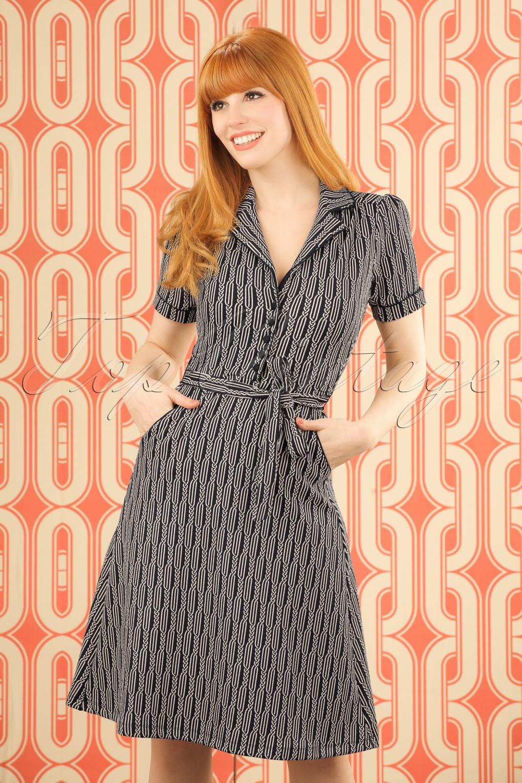 Pin Up Dresses | Pin Up Clothing 50s Bibi Spiral Dress in Dark Navy £84.89 AT vintagedancer.com