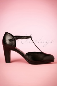 40s Emily T-strap Leather Pumps in Black