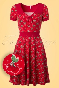 60s Wings Of Spring Carries Cherries Dress in Red
