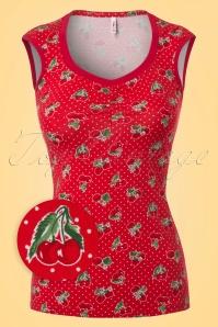 50s Darling Carries Cherries Top in Red